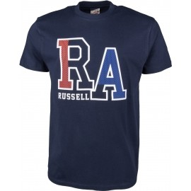 Russell Athletic S/S CREW TEE WITH LARGE RA MESH EFFECT RAISED PRINT - Herren T-Shirt
